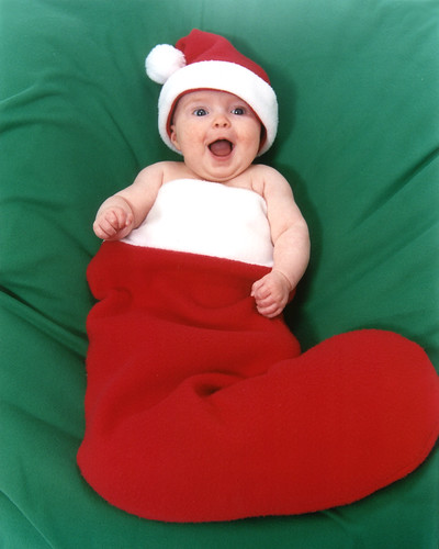 Baby In Santa Hat And Christmas Stocking My Daughter