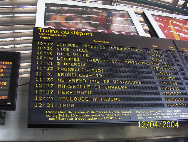 Lille Train Station Timetable Just Before We Got Onboard