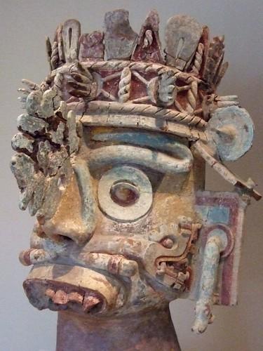 Head Of The Rain God Tlaloc Ceramic Tufa Stucco And Paint
