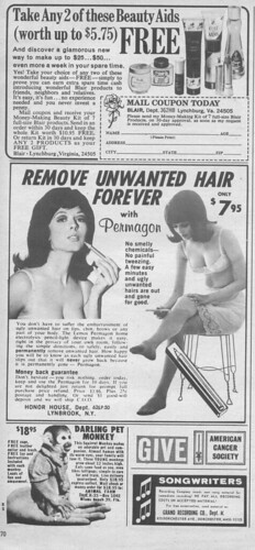 Vintage Ad #103 - Darling Pet Monkeys Remove Unwanted Hair Forever | by jbcurio