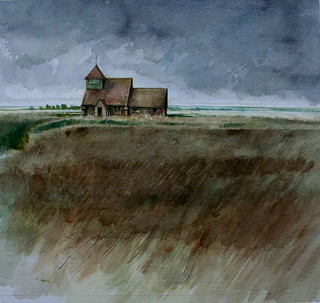 St Thomas a Becket  Church  Romney Marsh (Watercolour) | by ART NAHPRO