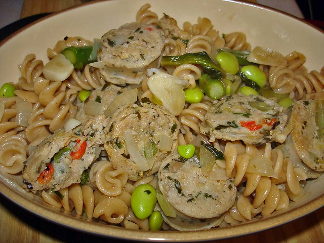 Whole grain pasta with chicken sausage and green veggies i… | Flickr