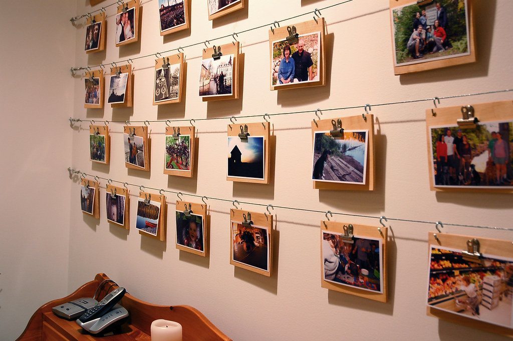 Cheap easy photo display wall this photo is part of a diy flickr - Creative digital art ideas for your home ...