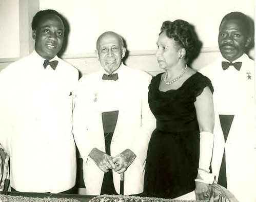 Kwame Nkrumah with WEB Dubois and Shirley Graham Dubois in Ghana at Republic Day ceremony, July 1, 1960. | by Pan-African News Wire Photo File