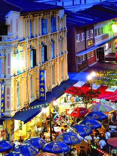 Pagoda Street by night. Chinatown, Singapore. | Evening ...