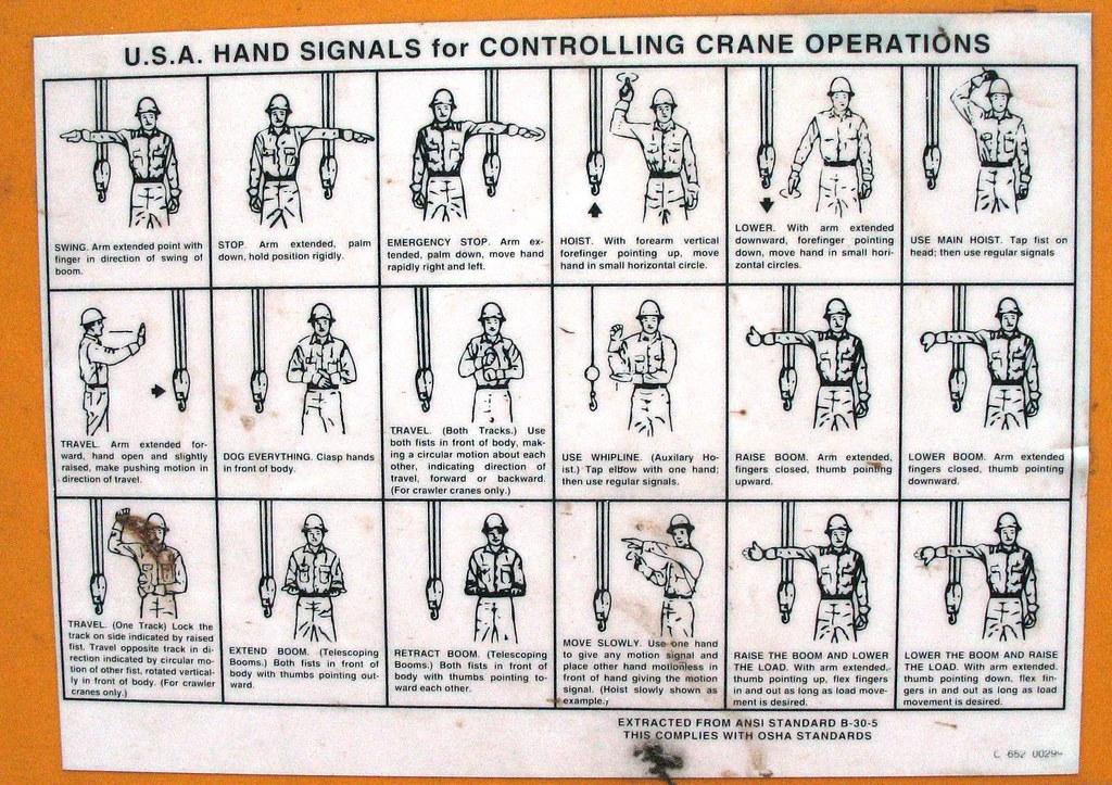 Tower Crane Signals : U s a hand signals for controlling crane operations flickr