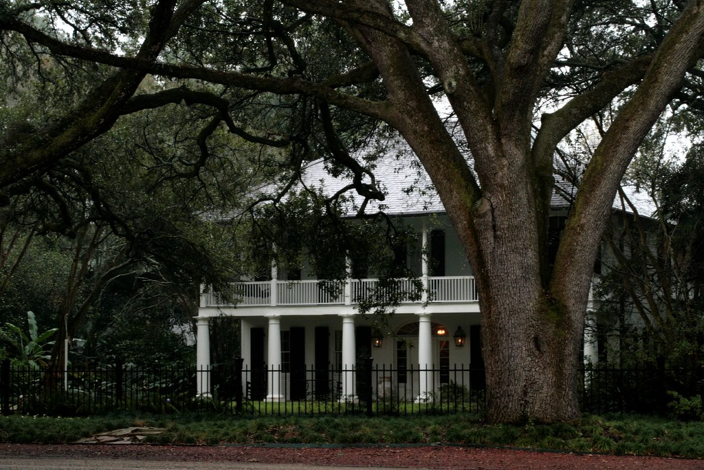 A Typical Baton Rouge Plantation Style Home On A Rainy Day