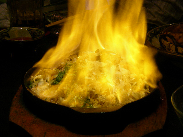 Okinawan yakisoba (flambe)