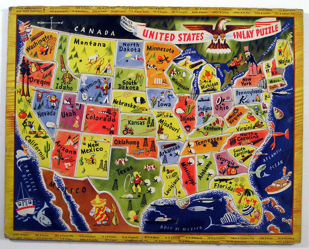 AM Walzer Co United States Inlay Puzzle Tom Flickr - Us map georgia puzzle
