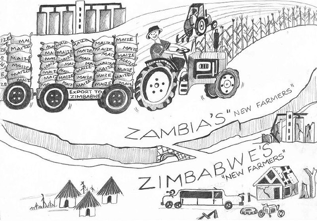 Cartoon comparing farming for maize between Zambia and Zim ...