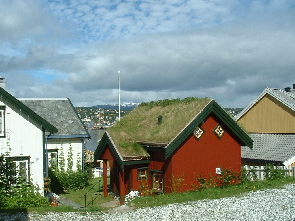 Grass Roof Just Outside Tromso House With Grass Roof