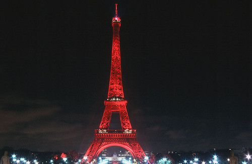 Eiffel Tower In Red Paris Red Lightened Eiffel Tower