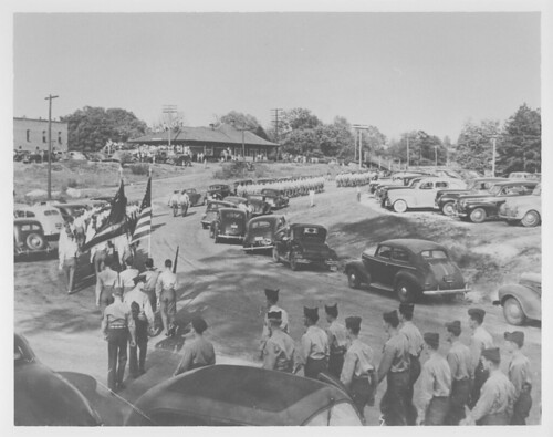 Clemson  cadets at station for F. D. R. Funeral train | by Pickens County Library System