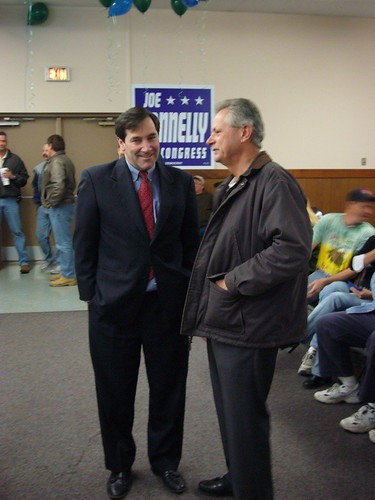 Joe Donnelly and Supporter | by EVAN BAYH