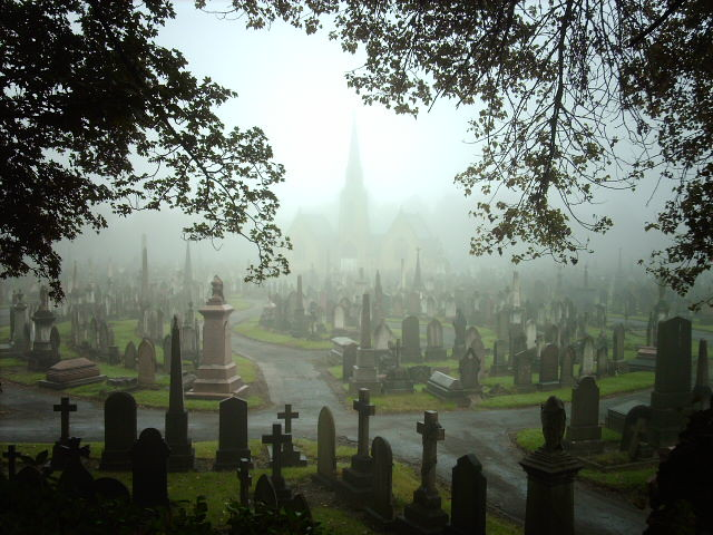 Foggy Graveyard A Few Miles And Minutes Later Is Blue
