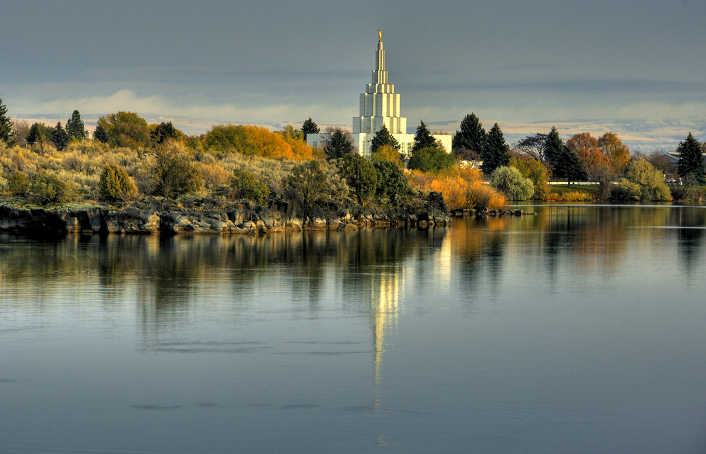 Idaho Falls Temple 5 Shot Hdr Of The Snake River In