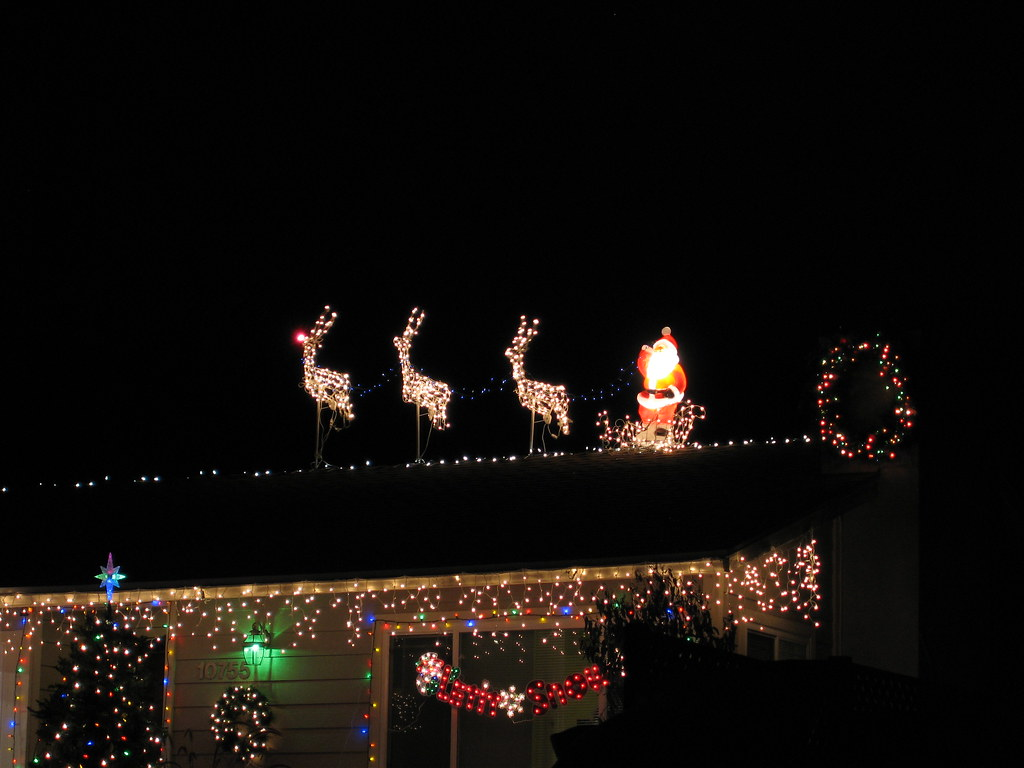 by slworking2 our christmas lights santa and his reindeer including rudolph by slworking2