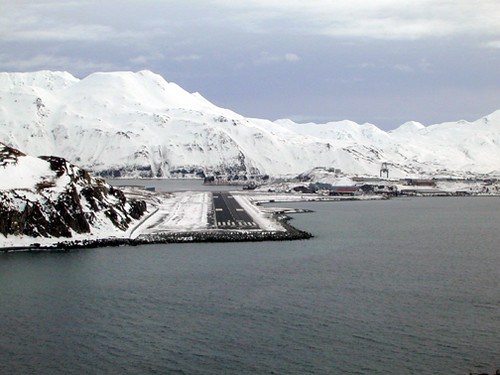 Final Approach Runway 12 Dutch Harbor Alaska Circa Late