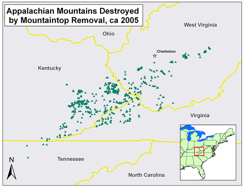 Map of more than 450 Appalachian Mountains Destroyed by Mountaintop Removal | by iLoveMountains.org
