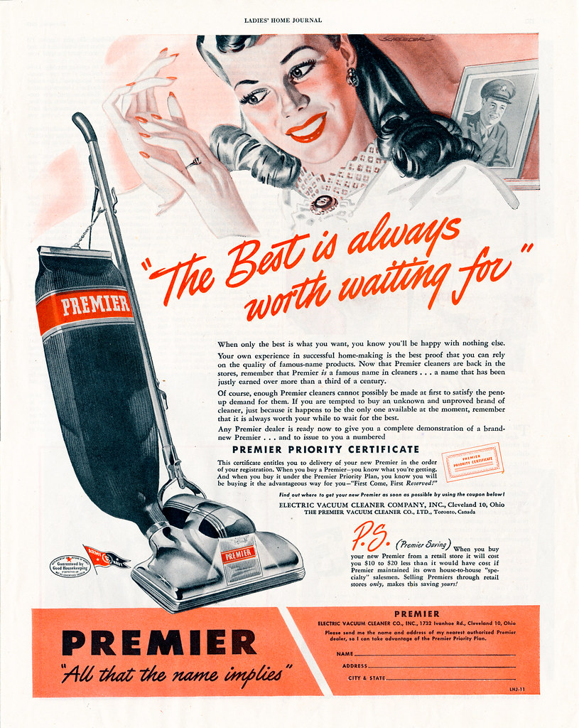 Vintage Wwii Premier Vacuum Cleaner Ad 1945 Quot The Best