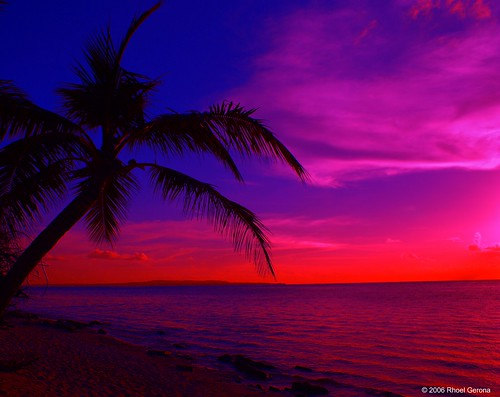 Tropical Island Sunset Saipan Northern Mariana Islands