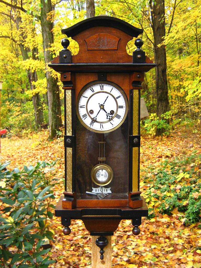 German Vienna Style Wall Clock Walnut Case With Black