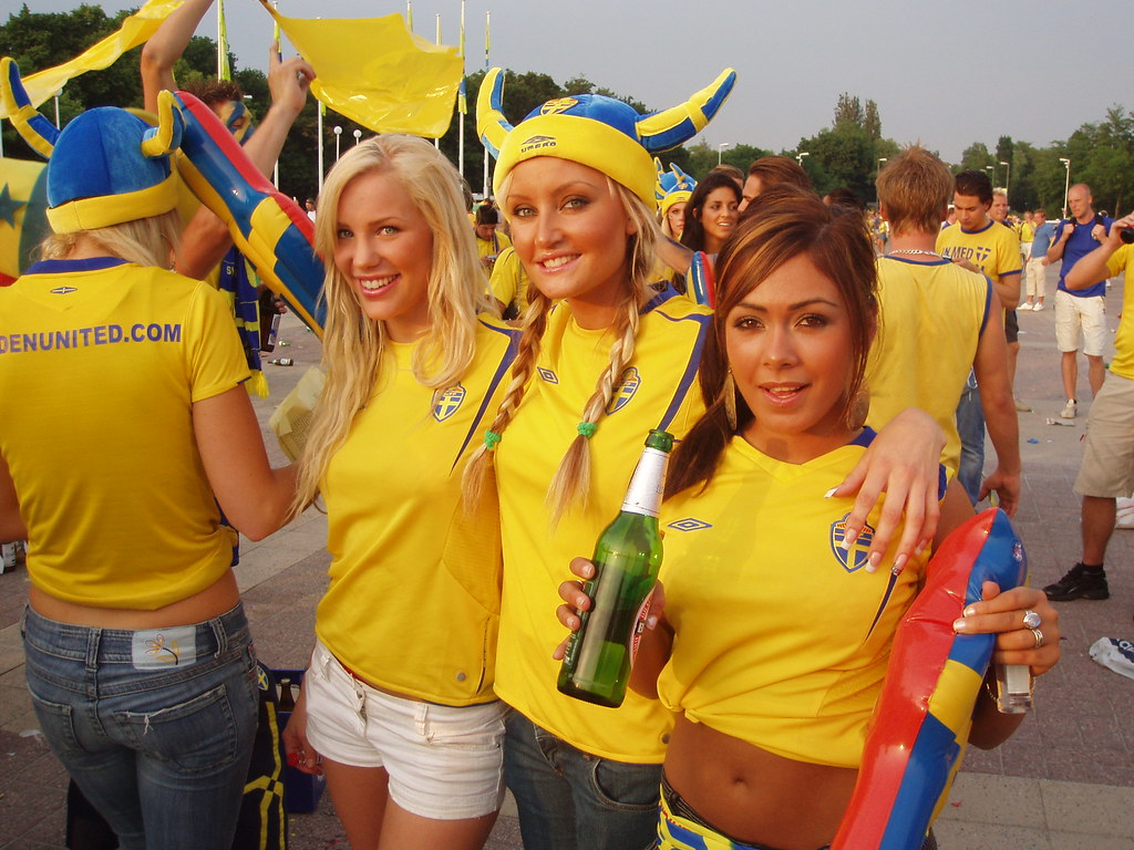 Swedish soccer fans topless something