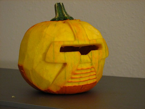 Carved Cylon pie pumpkin | by oskay