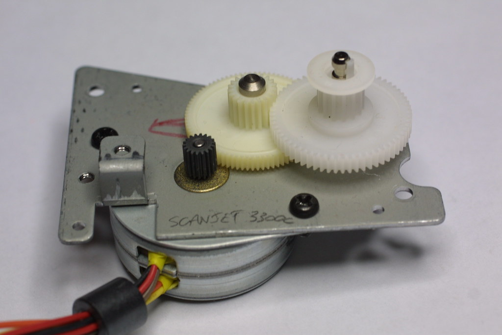 Parts From Scanner Motor The Stepper Motor And Gearing