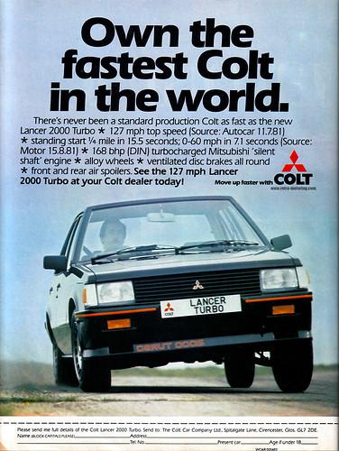 Colt Lancer 2000 Turbo Retro Car Advert Retro Motoring