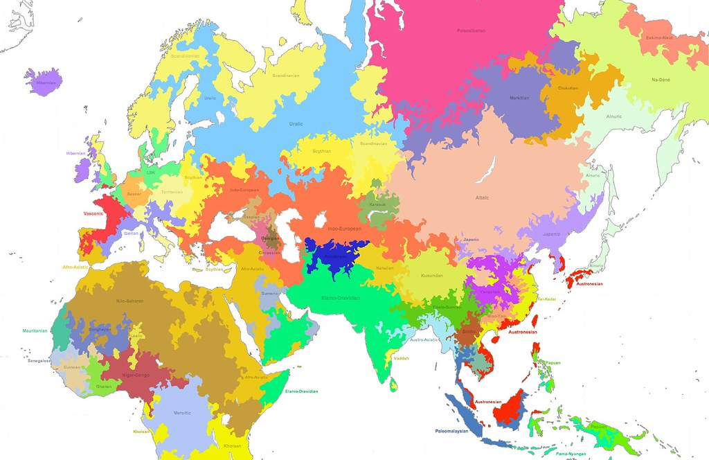 Linguistic Map Of The Old World BCE Language Families Flickr - Old world language families map