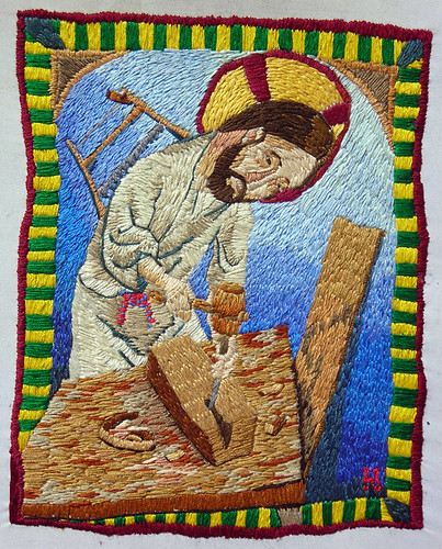 An emboridered Jesus, being a carpenter | by william schaff
