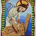 An emboridered Jesus, being a carpenter