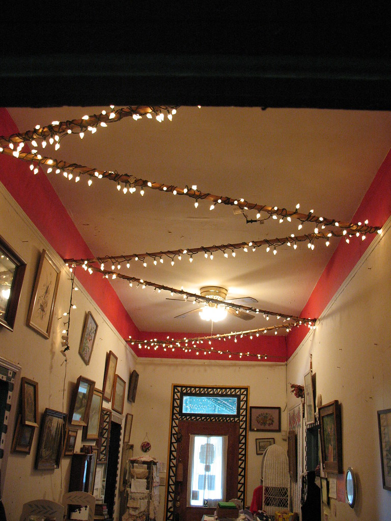 Antique Shop Entryway Christmas Lights And Crown Mouldin