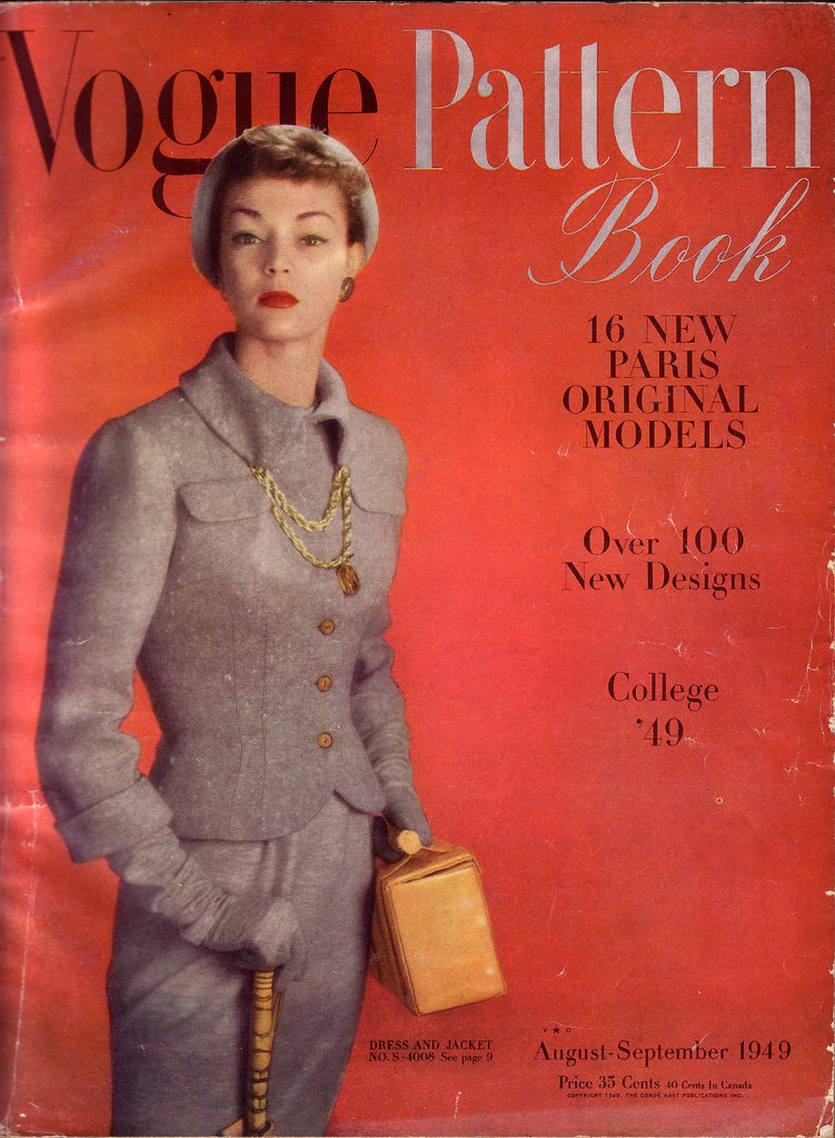 Jean Patchett on the cover of Vogue Pattern Book, Aug/Sept 1949