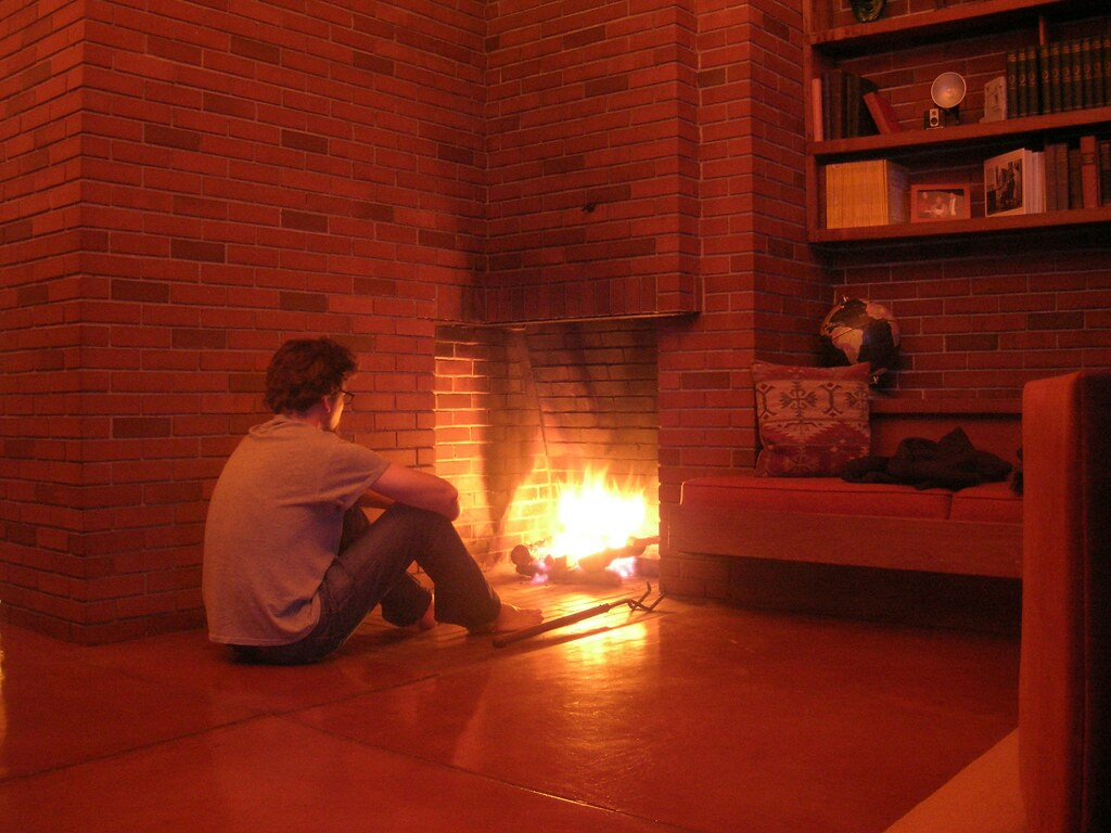 Frank Lloyd Wright Fireplace   Enjoying the fire in Frank ...