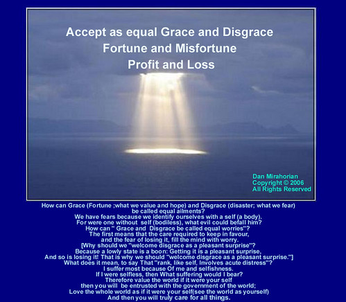 Accept as Equal Grace and Disgrace Fortune and Misfortune Profit and Loss. | by LAO TZU - FALLING IN TAO