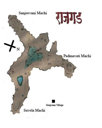 rajgad fort map rajgad has three machis plateau padmava flickr