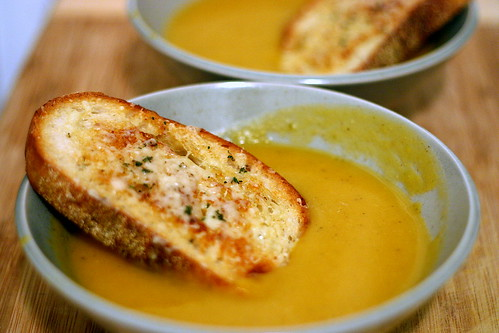 two squash soup, one gruyere crouton | by smitten kitchen