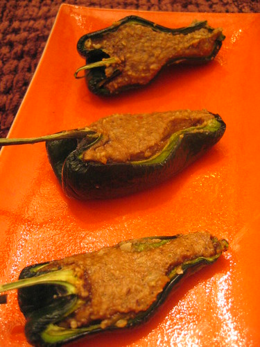 raw_chiles_relleno stuffed with plantain and pumpkin_seeds | by tofu666