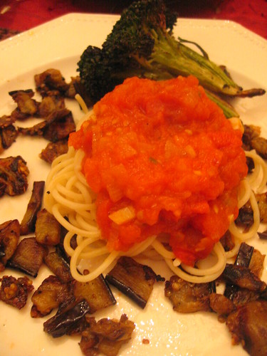 spaghetti_with_tomato_sauce smoked_eggplant roasted_broccoli | by tofu666
