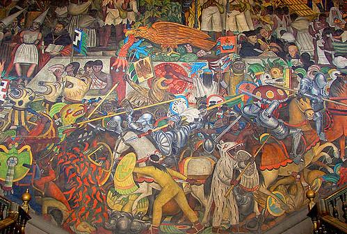 Mural de diego rivera el palacio nacional es el inmueble for Diego rivera la conquista mural