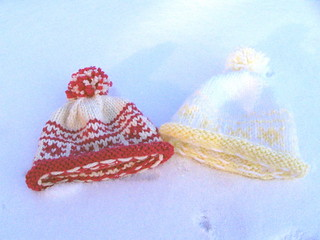 Two fair-isle baby hats in the snow! | by litlnemo
