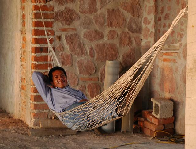 builder relaxing in a hammock puerto vallarta top of hills