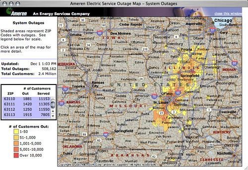 Ameren UE outage map   500,000+ customers without power | Flickr
