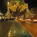 London Tower Bridge at Night with Batman Silhouette