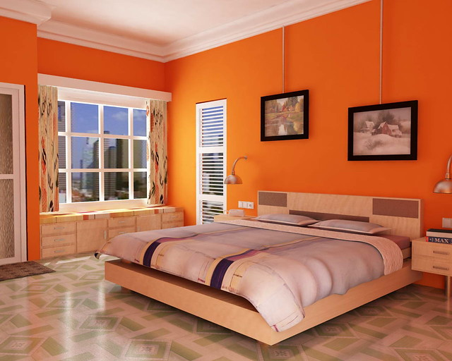 Orange Color Bedroom Walls Enchanting Bedroom In Orange Tone  Bedroom With Orange Wall Colour Tex…  Flickr Inspiration Design