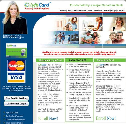 International Debit Card free money transfers Visa and mas