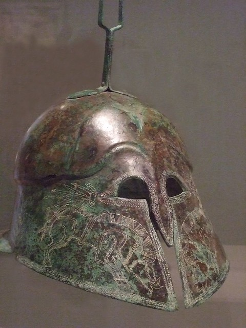 Corinthian Style Etruscan Helmet Incised With Images Of Bo