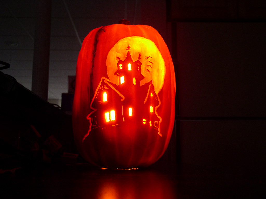 Haunted house pumpkin carved for a friend mark